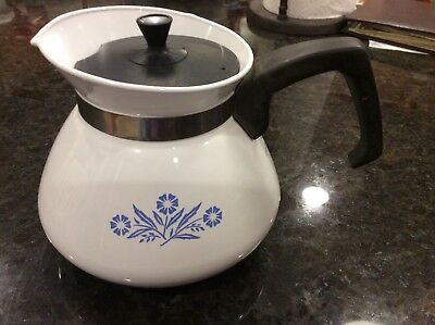 Corning Ware Blue Cornflower 6 Cup Tea Coffee Hot Water Stovetop Pot P-104