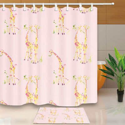 Giraffe In Love Animal Pattern Bathroom Shower Curtain Set Fabric & Hook 71 Inch