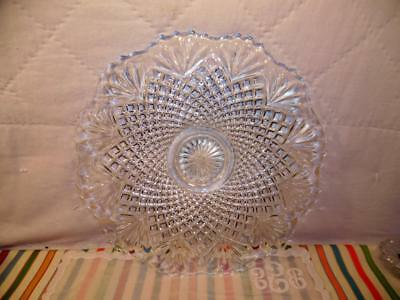 """VINTAGE L. E. SMITH PINEAPPLE LARGE TORTE Plate PLATTER CLEAR GLASS 16 1/2"""""""