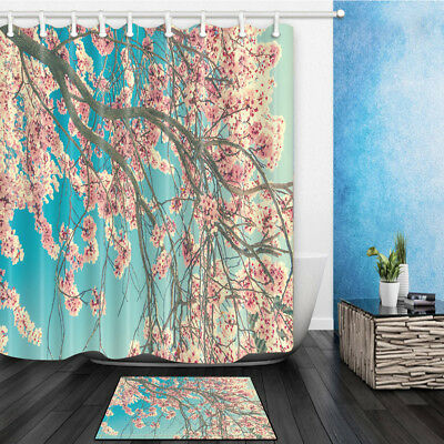 Spring Pink Flower Branch Bathroom Shower Curtain Set Fabric 12 Hook 71 Inch