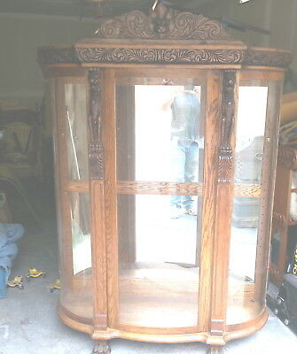 Antique Oak curved glass Curio Display Cabinet clawed feet hand carved