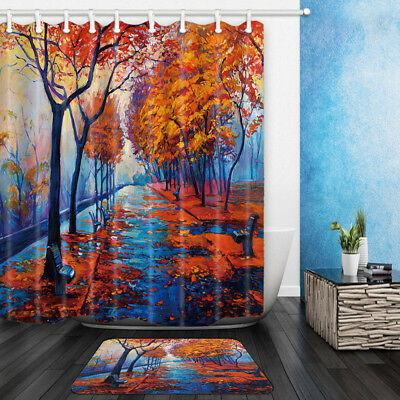 Oil Painting Maple Leaves Bathroom Shower Curtain Set Fabric & 12 Hook 71 Inch