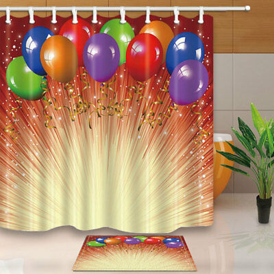Party Wedding Color Balloon Bathroom Shower Curtain Set Fabric & 12 Hook 71 Inch