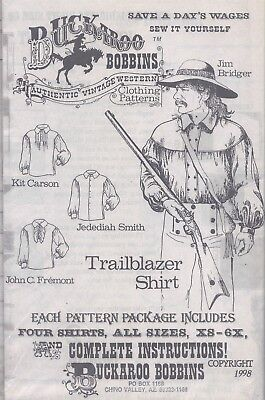Vintage Buckaroo Bobbins Men's Western Shirt Sewing Pattern UNCUT Reenactment
