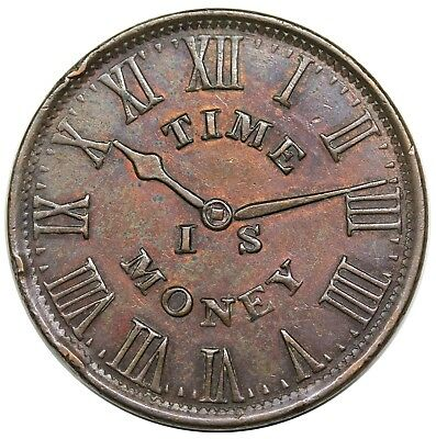 """1837 Hard Times Token, New York, NY: Smith's Clocks, """"Time Is Money"""", AU detail"""