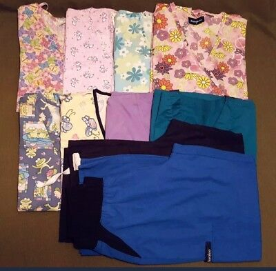 womens size small scrub  top (8) and pants (2) lot flowers print solids animals
