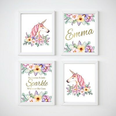 Unicorn Nursery Bedroom Wall Prints, Kids Wall Decor