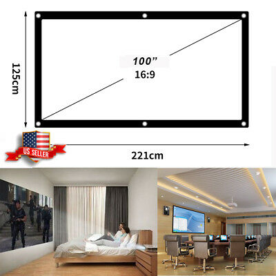 "60""100"" 120"" 16:9 Portable Projector Screen Projection Home Movie Theater Fabric"