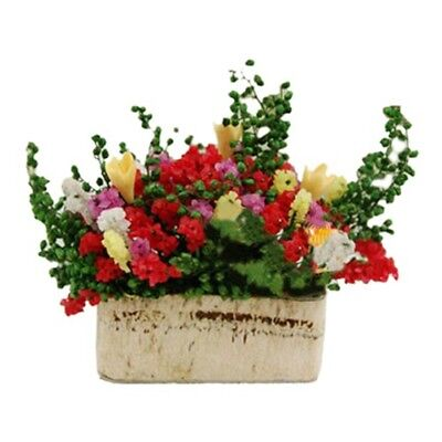 1/12 Dollhouse Miniature Multicolor Flower Bush With Wood Pot (Color: Multi Q2P8