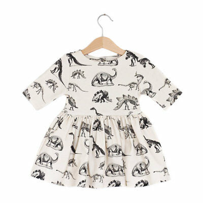US Infant Kids Baby Girl Animal Half Sleeve Dinosaur Dress Outfits Beige Clothes