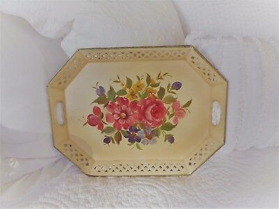 Shabby Cottage Chic Vintage Tole Ware Tray with Handles from NY Floral Estate