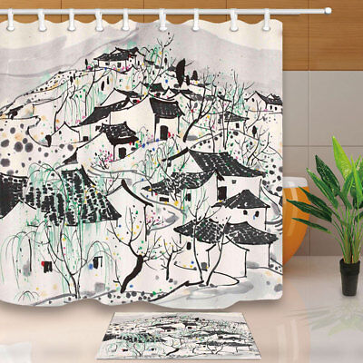 Hand Painting Village House Bathroom Shower Curtain Set Fabric & Hooks 71 In