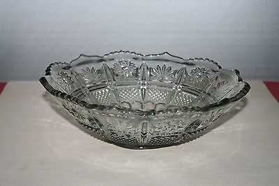 Large Clear Cut Glass Bowl 10-3/4 inches with Intricate Design