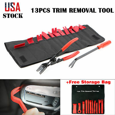 13Pcs Auto Trim Removal Tool Clip Open Pliers & Fastener Remover Pry Bar Tool US
