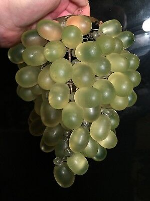 Vintage Art Nouveau Murano Czech Glass Green Grape Cluster Fruit Figural Shade