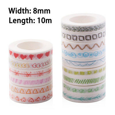10Mx8mm Washi Tape Rolls Decorative Sticky Paper Masking Adhesive Craft Tape DIY