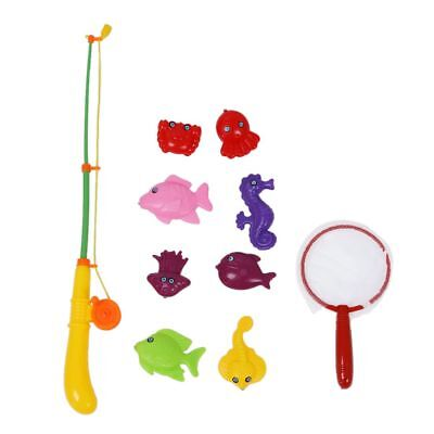 Magnetic Fishing Game Toy Makes Kids Children Bath Time Fun Rod Fish Net 10 M1Z2
