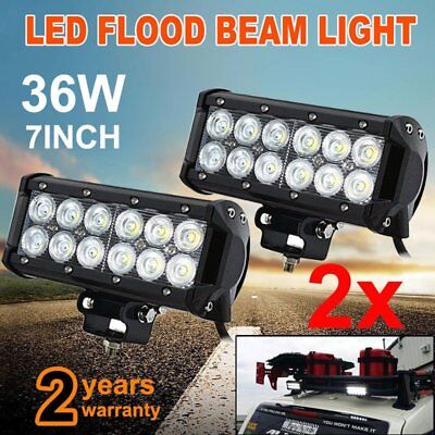 2x 7INCH 36W CREE FLOOD LED WORK DRIVING LIGHT BAR OFFROAD TRUCKS SUV 4WD LAMP