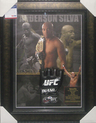 Anderson Silva Ufc Signed Framed Glove Psa Dna #q65897 Home Of The Real Deal