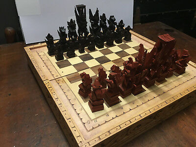 Vintage Hand Carved Cempaka Wood Balinese Chess Set