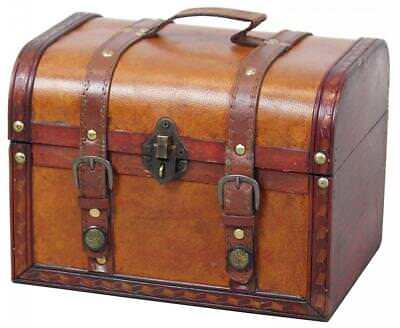 Wood Leather Vintage Treasure Box Old Style Storage Chest Large Trunk Only  New