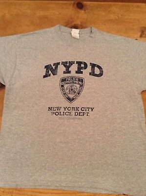 Official NYPD Police Dept. gray T-shirt with dept  logo men's XL