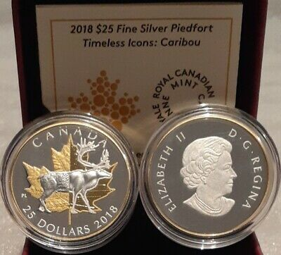 2018 Iconic Piedfort $25 1OZ Pure Silver GoldPlated Coin Canada CaribouMapleLeaf