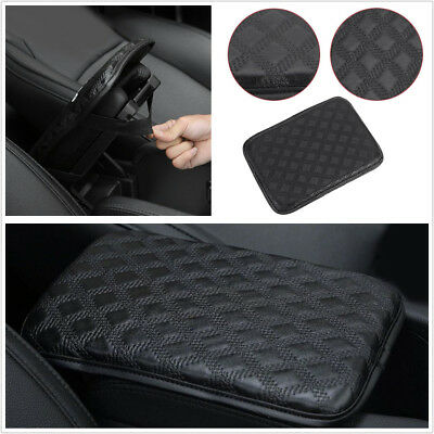 Black Leather Car Armrest Storage Console Box Top Mat Liner Pad Cover Cushion