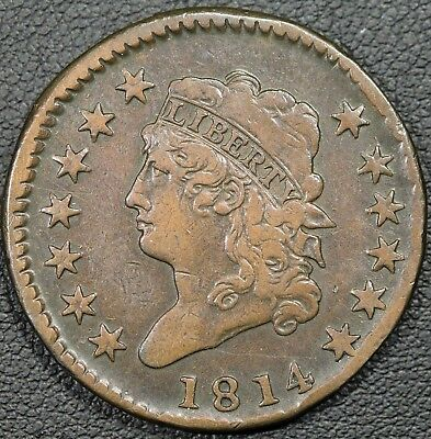 1814 Classic Head Copper Large Cent - VF+ - BEAUTIFUL PATINA