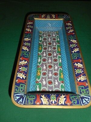 An Extraordinary  Chinese Cloisonne Tray Decorated With Dogs, Fishes & Turtles