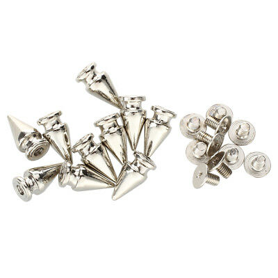 10 Set Silver Screw Bullet Rivet Spike Studs Spots DIY Rock Punk 7x13mm S5B9