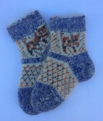 Knitted Sheep wool Mohair Kids socks Thick warm winter Blue White Age 3-5