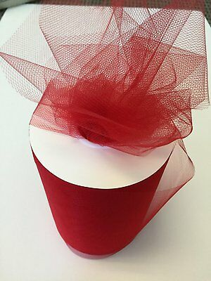 Tulle Fabric Spool/Roll 6 inch x 100 yards 300 feet, 34 Colors Available, On red