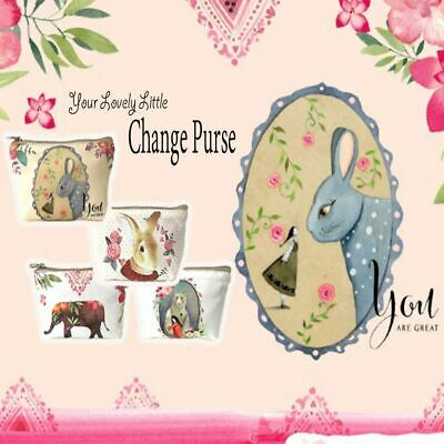 Cute Animal Printed Canvas Coin Purse Change Pouch Key Holder