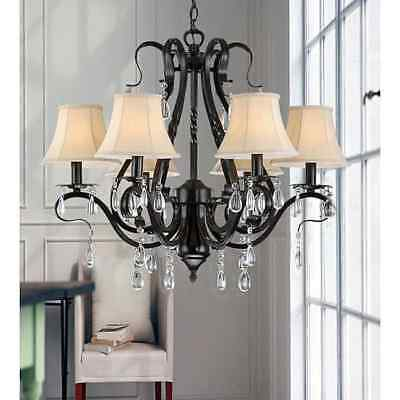 Black Iron 6-light Crystal Chandelier Vintage French Antique Light Lamp Style
