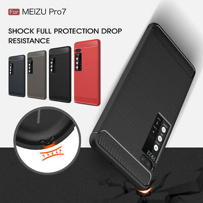 Shockproof Carbon Fibe Brushed TPU Silicone Back Case For Meizu Pro 7/Pro 7 Plus