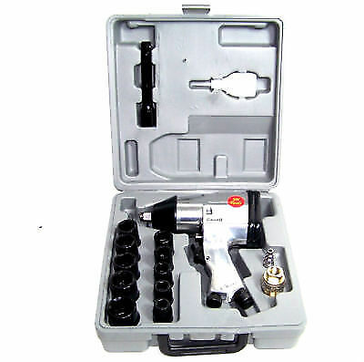 """16 Pc 1/2"""" Drive Air Impact Wrench With 10 1/2 Dr Sockets 1 Extension Bar Oiler"""