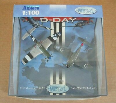 Armour 2 Planes Focke Wulf 190 Red 13 P-51 Mustang Jumpin' Jacques DieCast 1:100