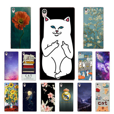 "5.2"" Soft TPU Silicone Case For Sony Xperia Z5 Phone Back Cover Skin Cats Print"