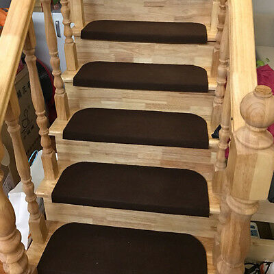 1/13pcs Pure Color Countryside Stairs Treads Mat Anti Skid Stepping Rugs Hallway