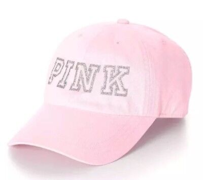 Victoria's Secret PINK Washed Baseball Cap Hat Light Pink Glitter Bling NEW