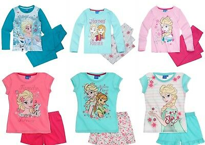 Girls Children Frozen Short Long Pyjamas pjs T-Shirt Shorts Set Age 4-10 years