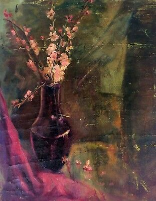 Vase With Flowers. Painting. Oil On Canvas. Anonymous. Spain. Xix-Xx