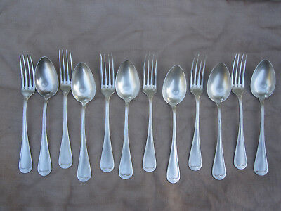 12 Antique French Silverplate FORKS and SPOONS, classic fiddelback design