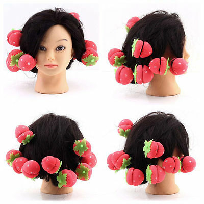 12x Pcs Strawberry Balls Hair Care Soft Sponge Rollers Curlers Lovely DIY Tool