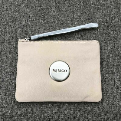 Mimco Blush Pink Rose Gold Medium Pouch Leather • Authentic Rrp $99.95