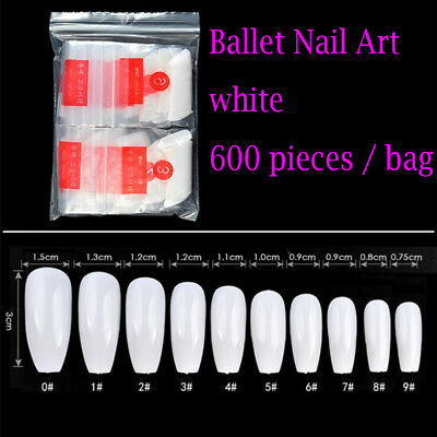 600 Pcs/bag Coffin Nails Clear White False Tips Salon DIY Transparent Acrylic