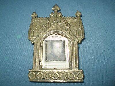 old tabletop small bronze frame photo of officer