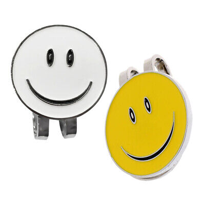 2Pcs Sturdy Smile Face Magnet Hat Clip Golf Ball Marker Cap Visor
