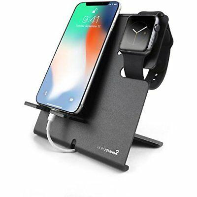 Apple Watch Stand iPhone Dock Portable Black 2 in 1 Charging Station Holder New